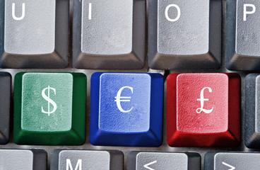 Hot keys with symbols of dollar, pound, and euro