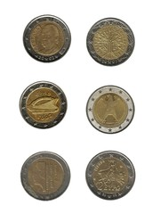 Two euro coins of various nations