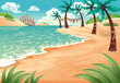 Cartoon seascape. Vector illustration. Summer scene.