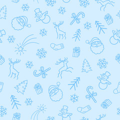 Seamless Christmas  Vector 2-color Pattern