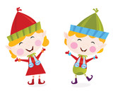 Christmas boy and girl elves. Vector Illustration. poster