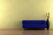 blue sofa and vase with dry wood in front of yellow wall