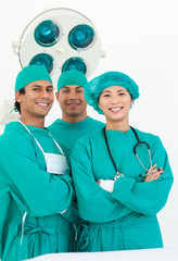 Smiling team of surgeon
