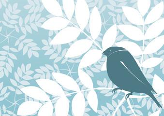 Retro wallpaper vector or background with bird
