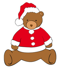 Christmas bear with Santa Claus hat