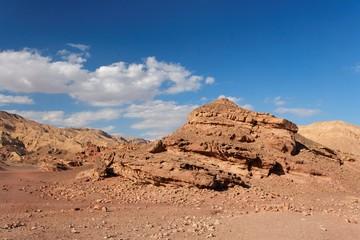 Scenic rocks in stone desert near Eilat in Israel