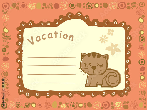 可爱的摘要漫画礼物结构背景花说明猫邮件  the vector illustration