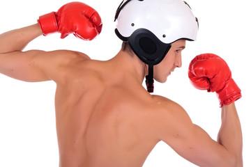 Male athlete boxer helmet