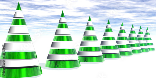 Conical Glossy Christmas Trees
