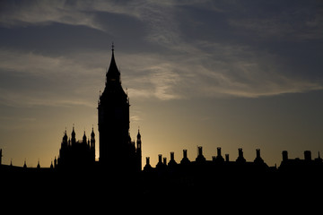 London - sunset over Big Ben - silhouette