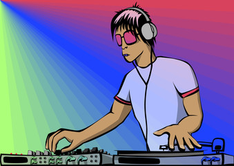 Vector image. Young DJ.