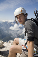 mountaineer on the summit  - Slovenia