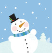 Christmas winter snowman background. Vector.