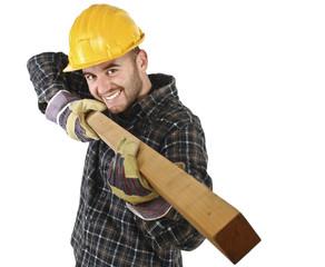 young carpenter has fun at work