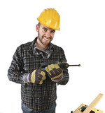 isolated standin handyman with electric drill
