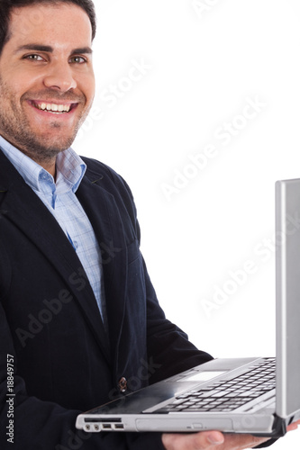 Closeup of a professional holding a laptop