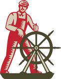 Sea captain at the helm poster