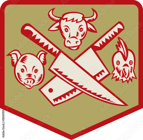 Cow,pig and chicken with crossed butcher knife icon