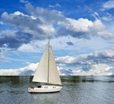 sail yacht in a river poster
