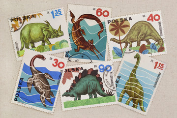 dinosaurus - set of vintage post stamps from Poland