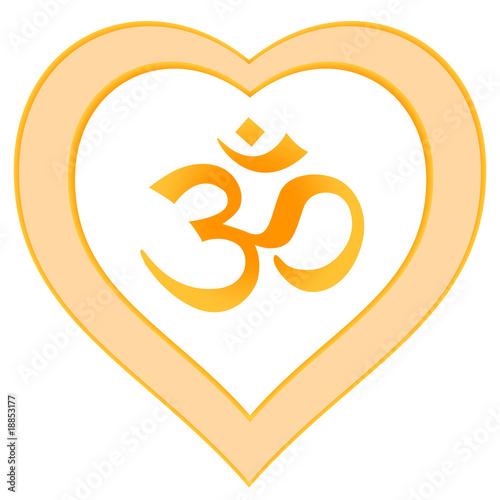 Herz Mandala Om-Symbol Aum Zeichen, rot orange gelb
