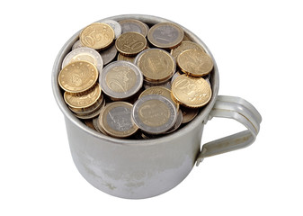 aluminum cup filled with coins