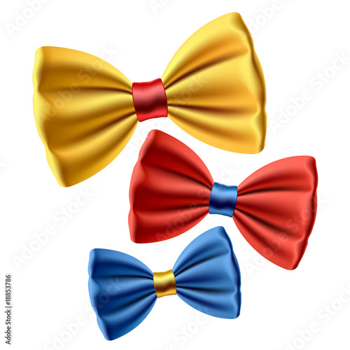 Set of colored bow ties. Vector.
