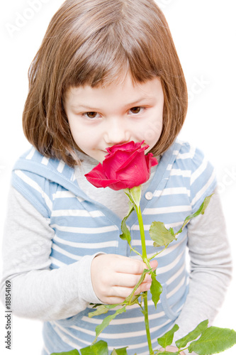 portrait of a little girl with red rose