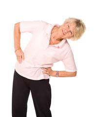 Senior lady stretching before exercise