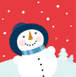 roleta: Christmas holiday background with snowman. VECTOR.
