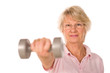 Older senior lady lifting weights