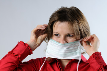 woman wearing mask protection