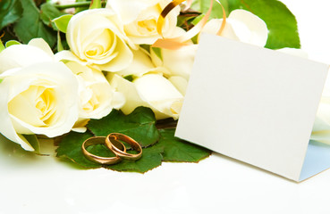 Roses, golden rings and card
