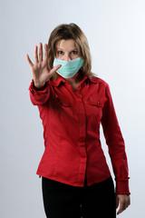 business woman fighting against flu virus