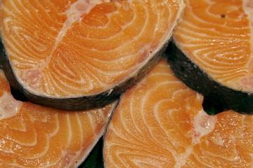 Salmon steaks on the market