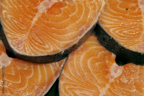 Salmon steaks on the market