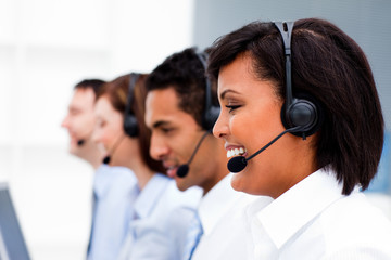 Confident business team in a call center