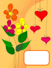 funky postcard with flowers and hearts