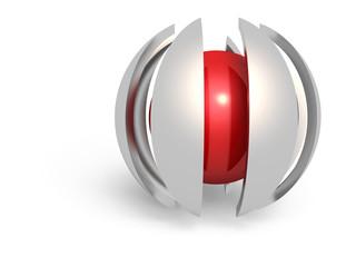 Rote Kugel mit Schild