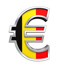 Silver Euro sign with Belgian flag isolated on white.