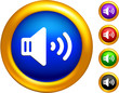 sound speaker icon on  buttons with golden borders