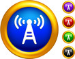 radio tower icon on  buttons with golden borders