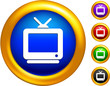 television icon on  buttons with golden borders
