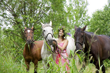 Brunette girl with horse