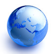 Blue glass globe on white background