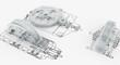 Leinwanddruck Bild - mechanical sketch with gears