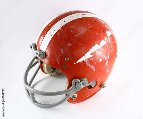 Old used football helmet top view