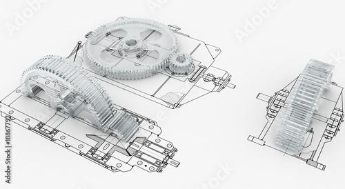 Leinwanddruck Bild mechanical sketch with gears