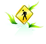 Pedestrian crossing on grass background