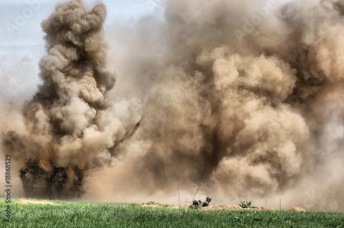 Leinwandbild Motiv HDR.Explosion. WW2 reenacting